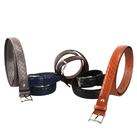 Black Mesh Leather Belts Mens Accessories Buckle Business Casual Suit