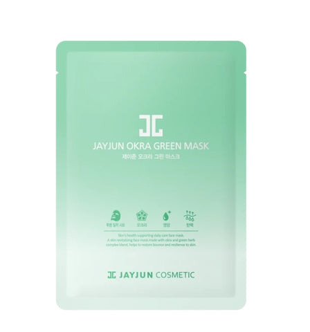 Jayjun Okra Greem Mask Skin Barrier Nourishes Health Face Mask Hydrate