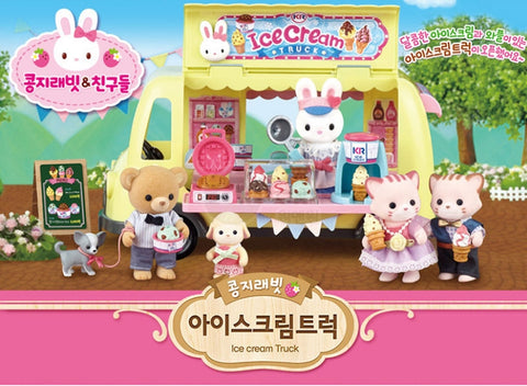 One&One Kongji Rabbit Ice Cream Truck Playset +1PC Rabbit Doll Kids Toy