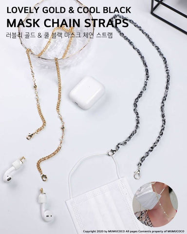 Steel Face Mask Necklaces Chain Straps Jewelry Lady Accessories AirPod
