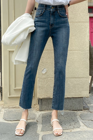 Blue Slim Straight Fit Denim Jeans Womens Washed Pants Vintage Girls