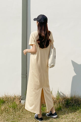 Beige Short Sleeved Long Maxi Dresses Casual Basic Back Slit Cotton