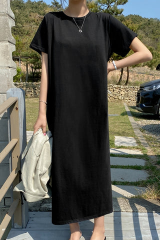 Black Short Sleeved Long Maxi Dresses Casual Basic Back Slit Cotton