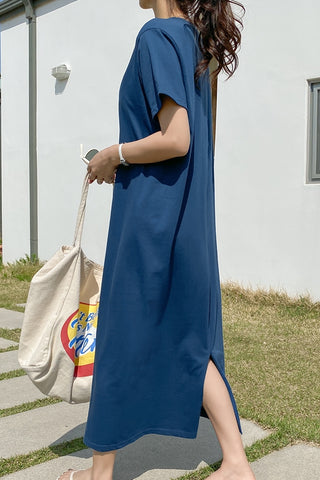 Blue Short Sleeved Long Maxi Dresses Casual Basic Back Slit Cotton