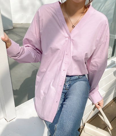 Pink Non Collar V-Neck Cotton Shirts Career Woman Korean Style