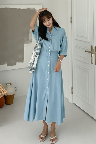 Light Blue Vintage Denim Jean Long Shirt Dresses Womens Waistband