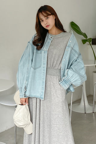 Light Blue Denim Jackets Womens Girls Korean Style Outerwear Unique