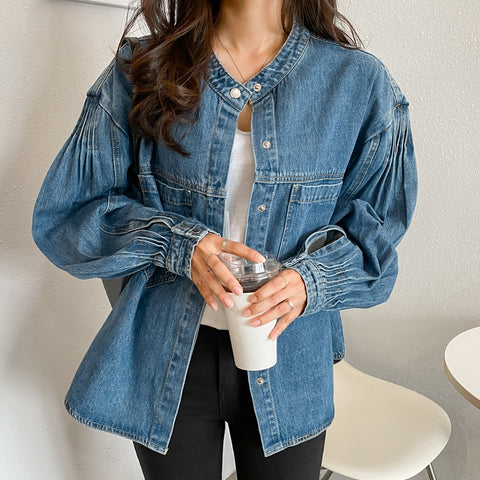 Medium Blue Denim Jackets Womens Girls Korean Style Outerwear Unique