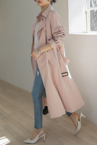 Pink No-Button Womens Trench Coats Jackets Outerwear Sheer Lightweight