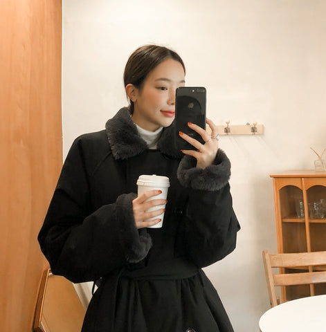 Black Fake fur Puffer Trench Coats Womens Winter Outerwear Waistbelt