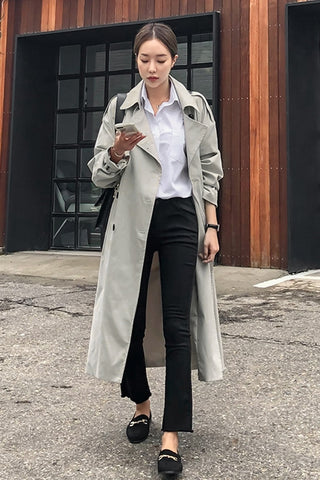 Light Gray Classic Double Breasted Trench Coats For Womens Cotton