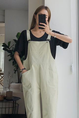 Beige Cotton Casual Jumpsuits Korean Womens Fashion