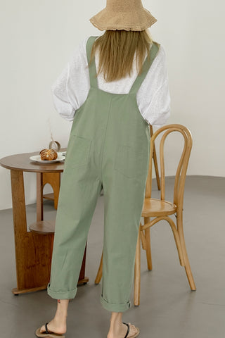 Khaki Cotton Casual Jumpsuits Korean Womens Fashion