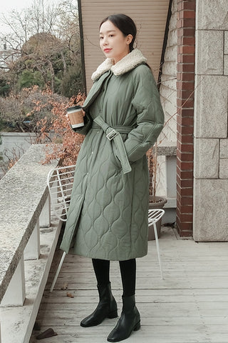 Mint Winter Puffers Long Coats Womens Waistbelt Outerwear quilted