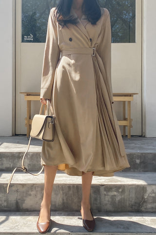 Beige Side Pleated Trench Wrap Dresses Womens Waiststrap Double Breast