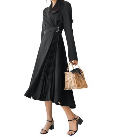 Black Side Pleated Trench Wrap Dresses Womens Waiststrap Double Breast