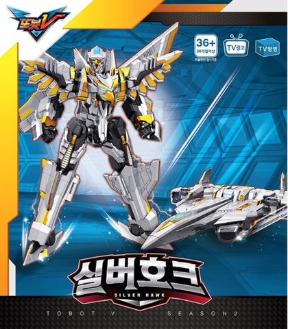 Tobot V Silver Hawk Transforming Robot Action Figure Toy Children Kid