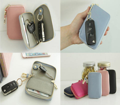 Zipper Genuine Cowhide Leather Smart Keyholder Car New
