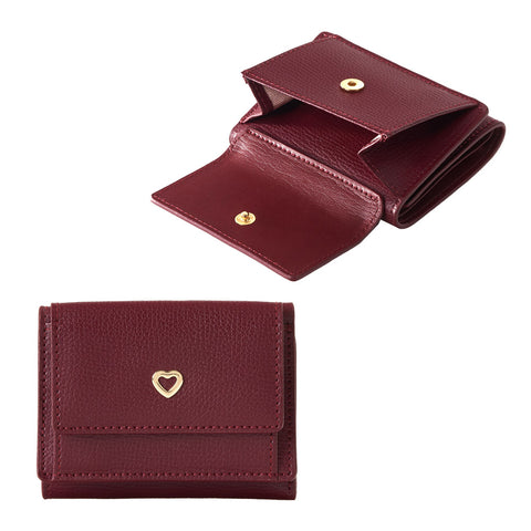 heart Genuine Cowhide Leather Wallets Foldable Purses Calling card