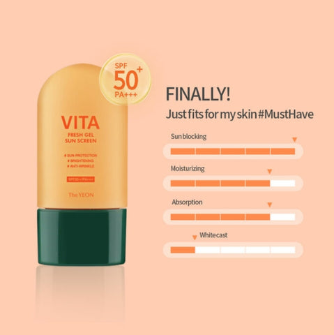 TheYEON Vita Fresh Gel Sunscreen Daily Skin Care Brightening Sun Block