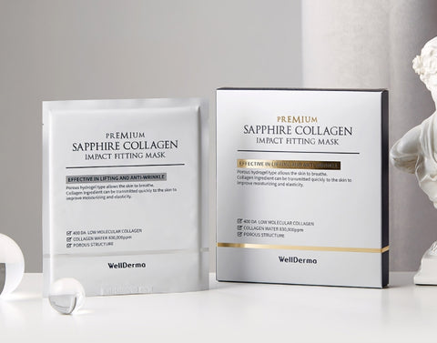 Wellderma Premium Sapphire Collagen Impact Fitting Mask Elasticity