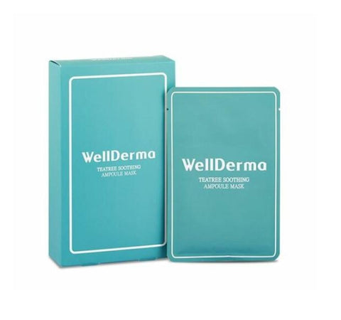 WELLDERMA Teatree Soothing Ampoule Mask 25ml 10ea Womens Cosmetics