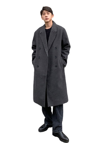 Charcoal Double Breasted Long Coats Mens Winter Outerwear Outfits Kpop