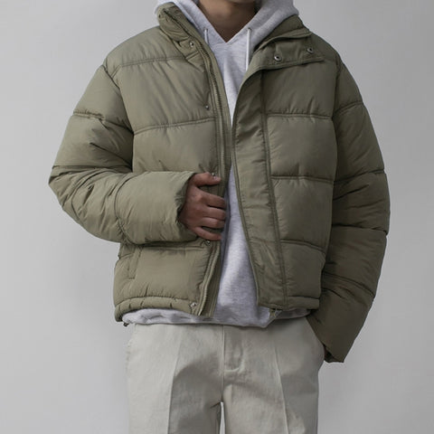 Khaki Green Mens Short Puffers Winter Outerwear Outfits Kpop Style Coats Clothing