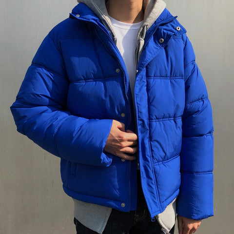 Blue Mens Short Puffers Winter Outerwear Outfits Kpop Style Coats Clothing