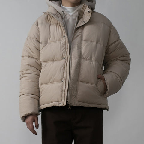 Beige Mens Short Puffers Winter Outerwear Outfits Kpop Style Coats Clothing