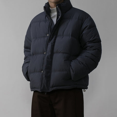 Navy Blue Mens Short Puffers Winter Outerwear Outfits Kpop Style Coats Clothing