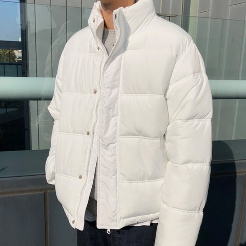 White Mens Short Puffers Winter Outerwear Outfits Kpop Style Coats Clothing
