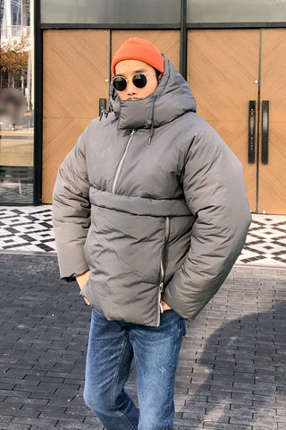 Grey Hooded Puffers Winter Jackets Mens Coats Wellon Loose Fit Outer