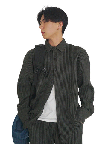 Charcoal Pleated Casual Shirts Mens Button Front Wool Blend Tops Korea