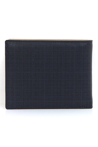 Navy Blue Genuine Cowhide Leather Bifold Wallets