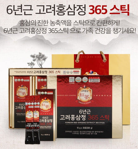 Korean 6 Years Red ginseng Extract 365 Sticks 30 pouches