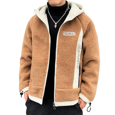 Beige YEEMEST Shearling Hoodies Mens Streetwear Hooded Jackets Zipup
