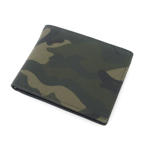 Khaki Green Military Camouflage Bifold Leather Wallets