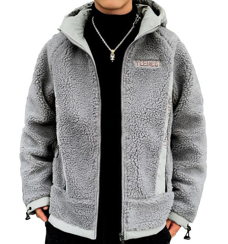 Grey YEEMEST Shearling Hoodies Mens Streetwear Hooded Jackets Zipup