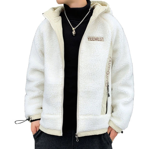 White YEEMEST Shearling Hoodies Mens Streetwear Hooded Jackets Zipup