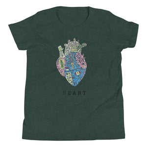 HEART Techno – Youth Short Sleeve T-Shirt