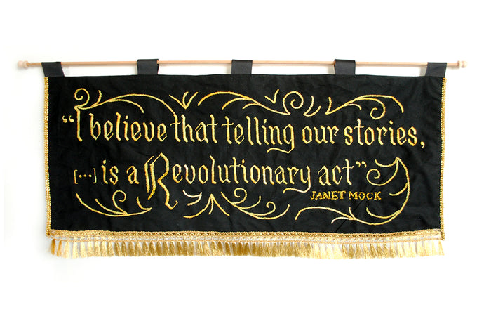 *RAFFLE* Hand-Embroidered Banner: Janet Mock