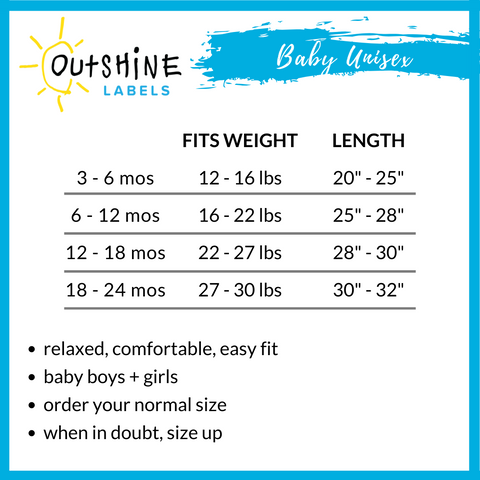 Baby Unisex Size Guide - Outshine Labels