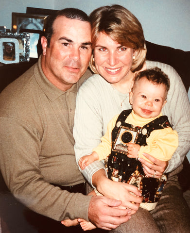 Morgan Jane Starkman with Greg & Joanne Starkman, founders of Innersense Organic Beauty.  Morgan is a baby in this picture.