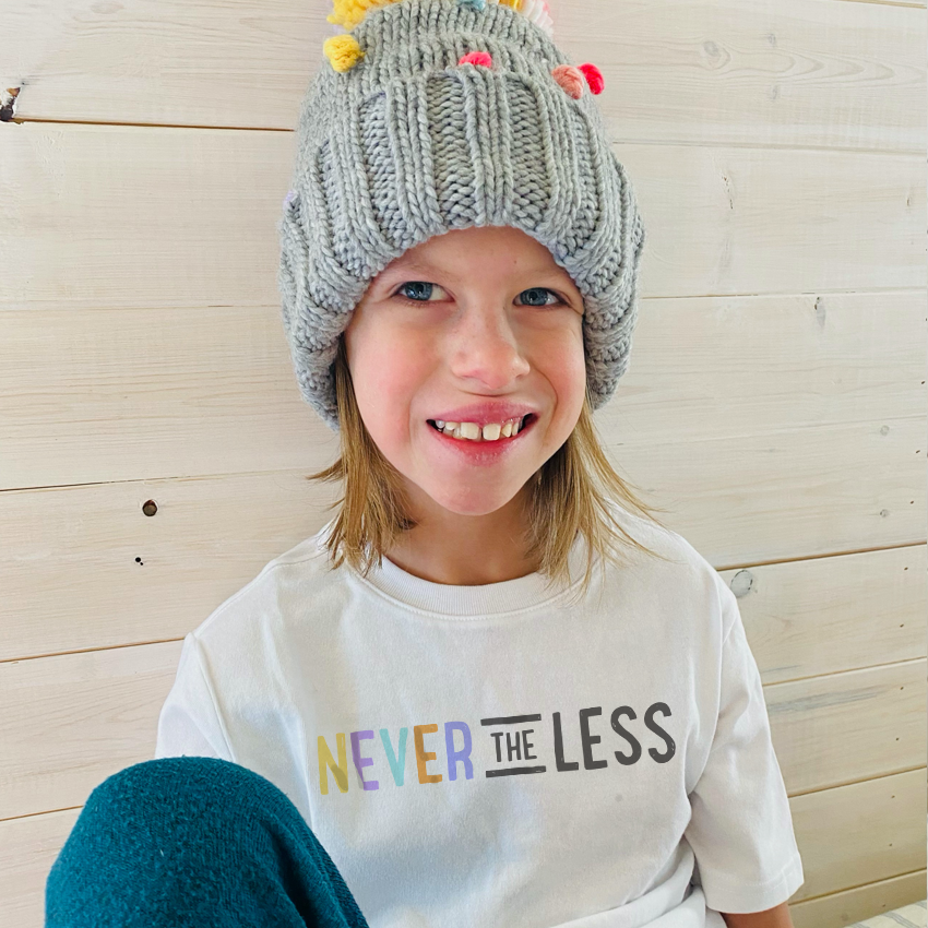 Stella has Williams Syndrome and this design, Never The Less was inspired by both she and her mother.  Together they are raising money for Best Buddies International.