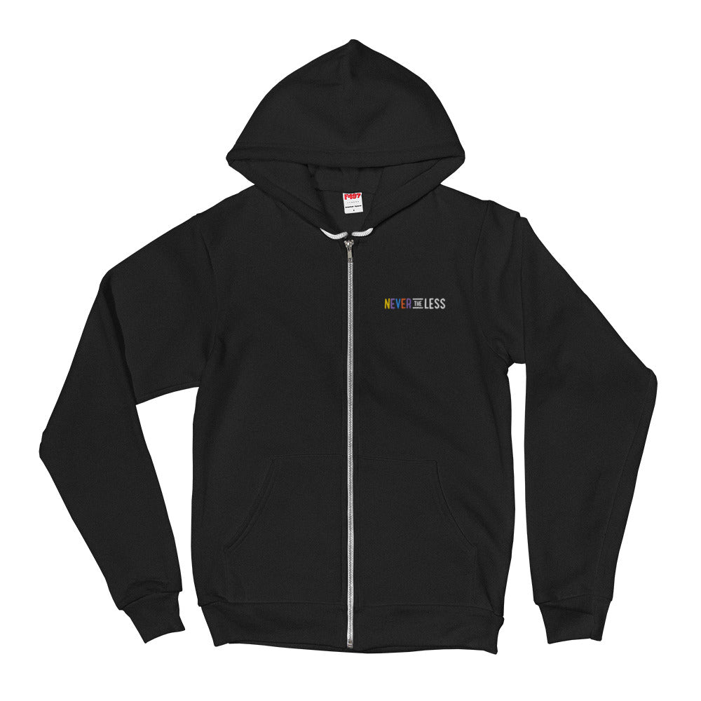 Never The Less — Adult Unisex Zip Up Hoodie