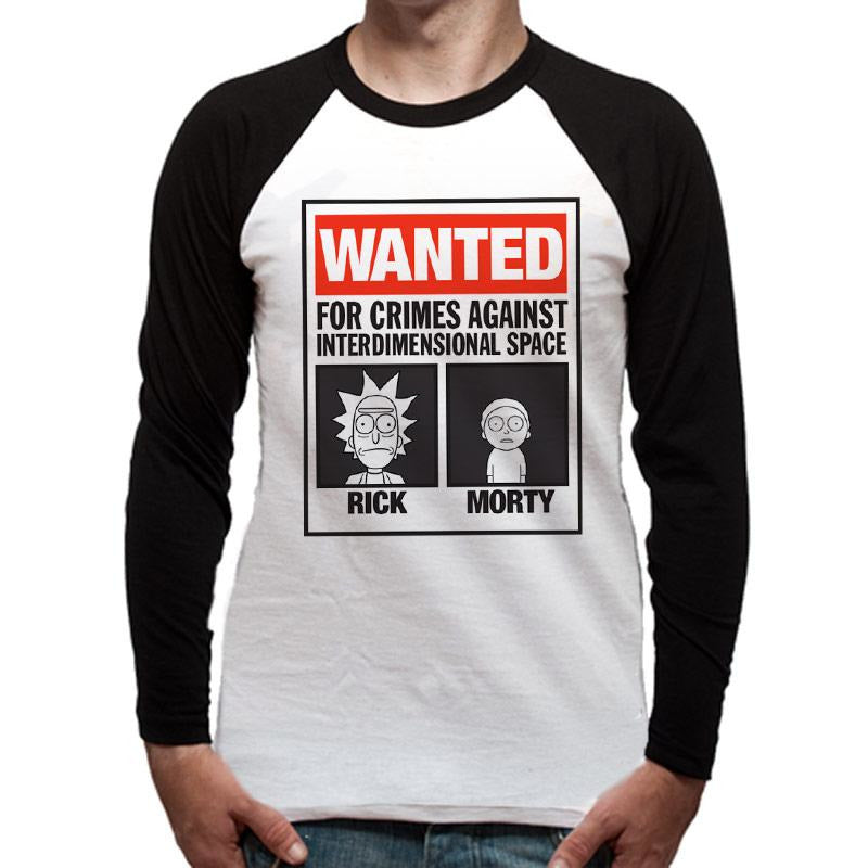 RICK AND MORTY | WANTED POSTER | BASEBALL SHIRT