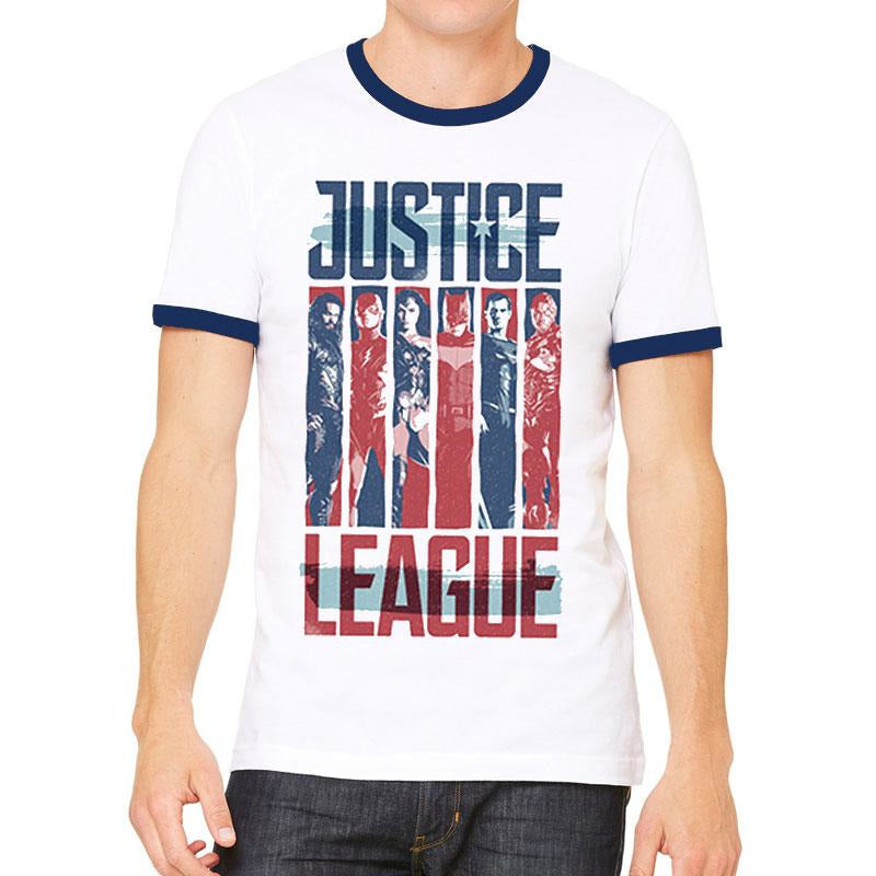 JUSTICE LEAGUE | STRIPS | UNISEX RINGER T-SHIRT