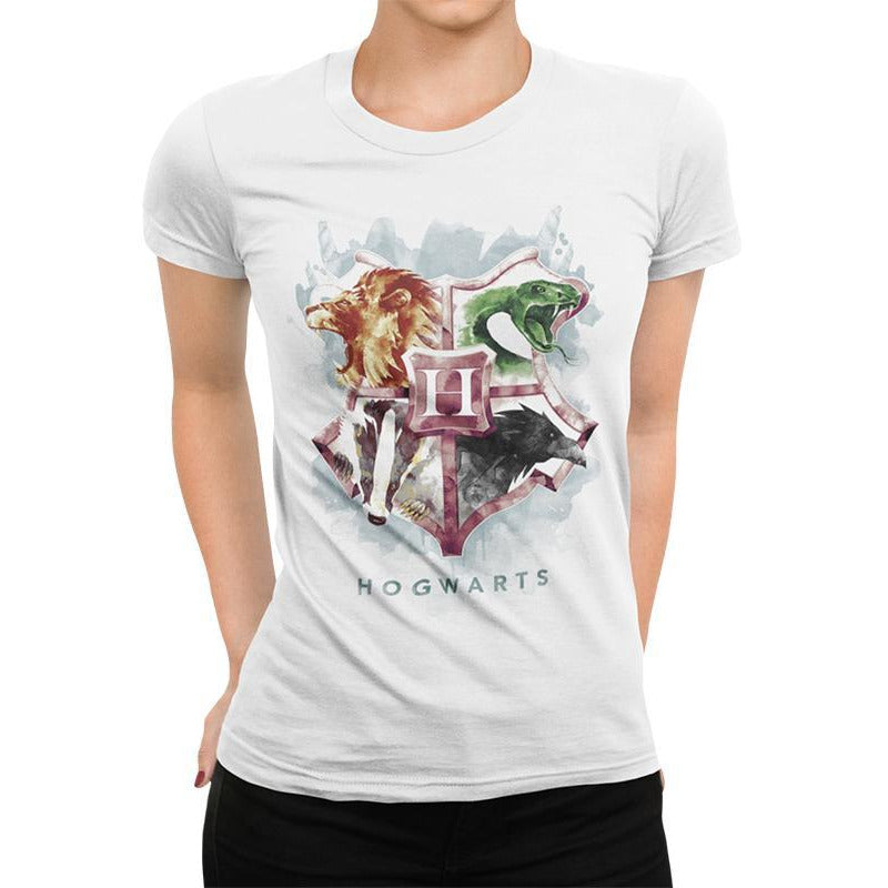 HARRY POTTER | WATER COLOUR CREST | FITTED T-SHIRT