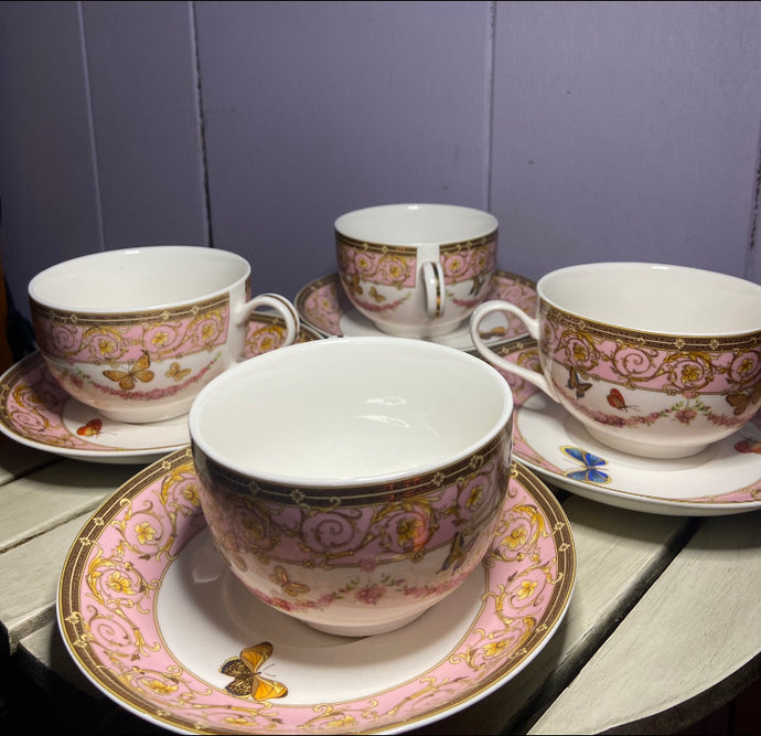 Grace Teaware Pink Butterfly Tea Set